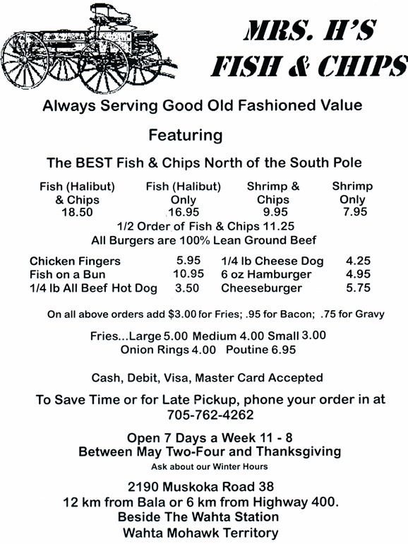 Mrs H's Fish and Chips Menu