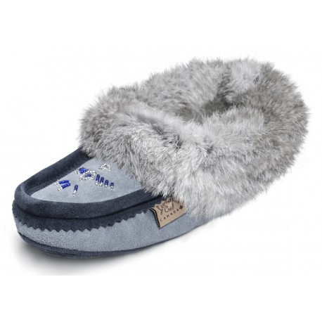 Laurentian Chief Fur Moccasin Sky Blue